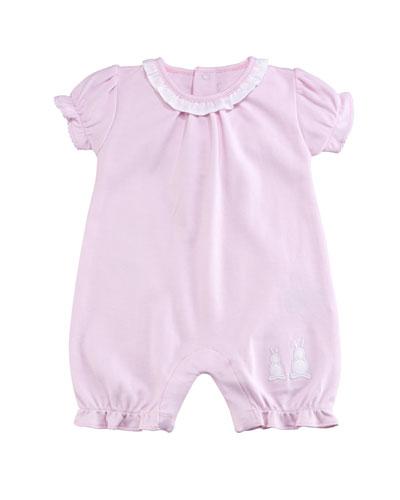 Pique Bunny Ears Ruffle Shortall, Pink, Size 0-18 Months
