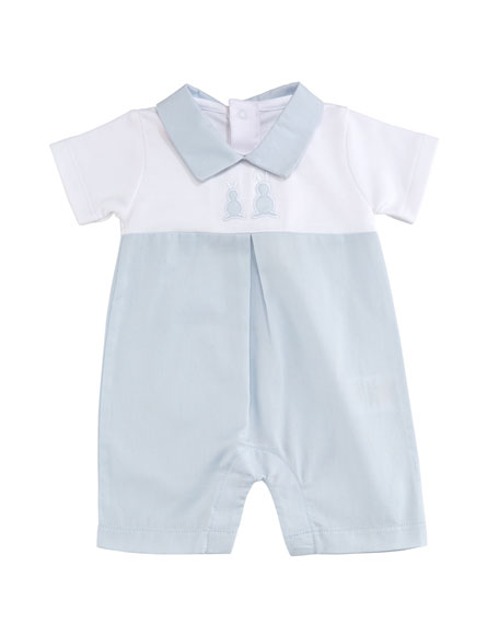 Pique Bunny Ears Woven Two-Tone Shortall, Blue, Size 0-18 Months