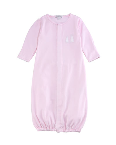 Pique Bunny Ears Convertible Pima Sleep Gown, Pink, Size Newborn-Small