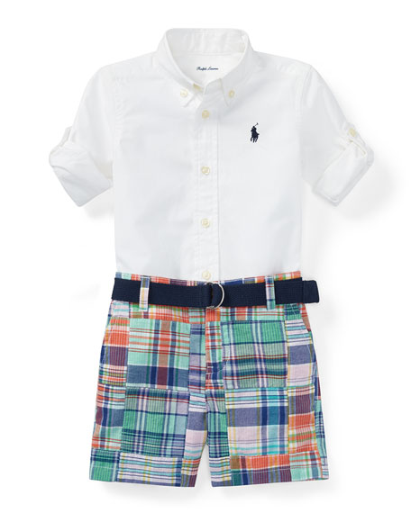 Oxford Shirt w/ Patchwork Shorts, Size 3-12 Months
