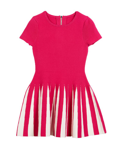 Pleated Contrast Flare Dress, Size 4-7