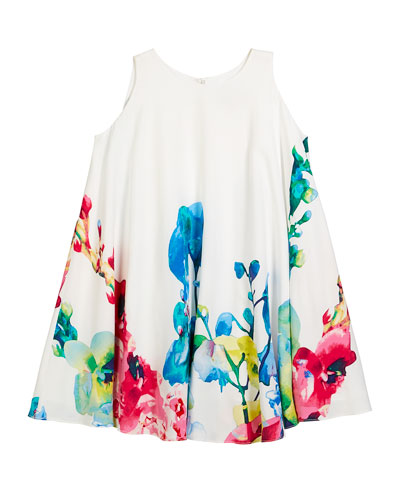 Border Floral Swing Dress, Size 7-14