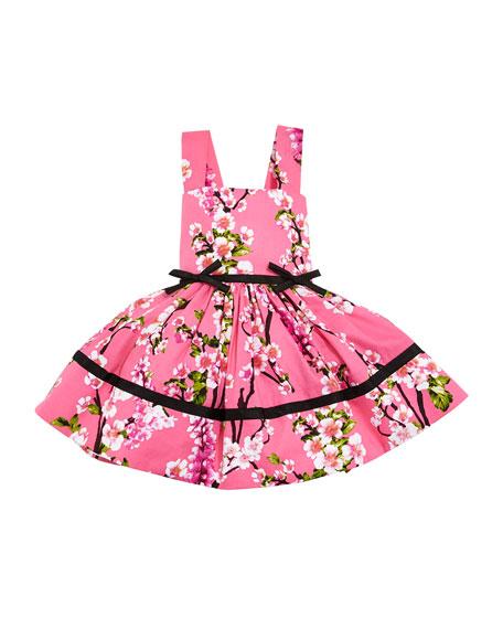 Cherry Blossoms Crewneck Dress, Pink, Size 12-18 Months