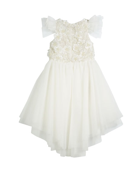 Flower High-Low Tulle Dress, Size 8-12