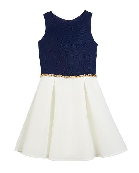 Two-Tone Sleeveless Dress w/ Chain Belt, Size 8-16