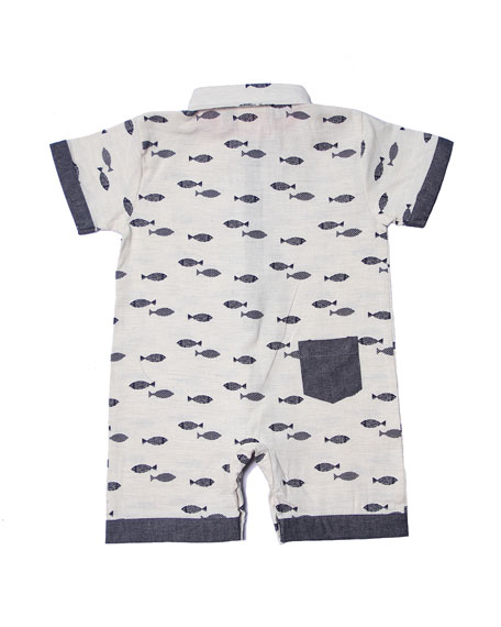 Fly Fish Collared Playsuit, Size 3-18 Months