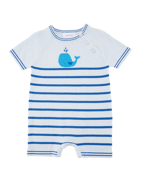 Nautical Whale Striped Shortall, Size 0-12 Months