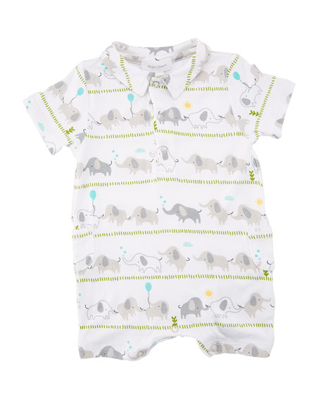 Angel Dear Elephant Stripe Polo Shortall, Size 0-12