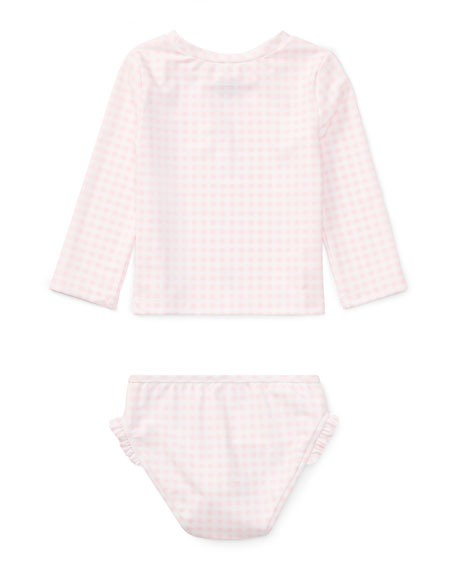 Gingham Two-Piece Rashguard Swimsuit, Size 9-24 Months