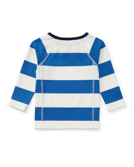 Striped Rashguard Coverup Swim Shirt, 9-24 Months
