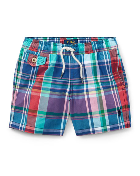 Traveler Plaid Swim Trunks, Size 5-7