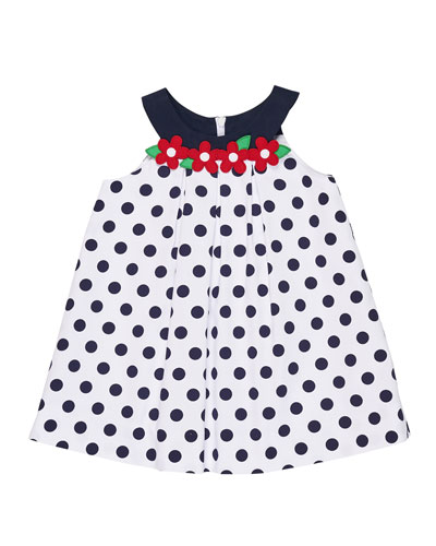 Polka-Dot Pique Dress w/ Flowers, Size 9-24 Months