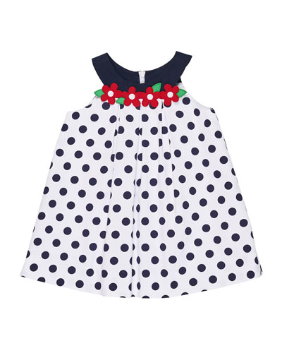 Polka-Dot Pique Dress w/ Flowers, Size 2-6