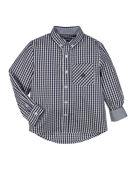 Button-Down Gingham Shirt w/ Contrast Rolled Cuffs, Size 2-7