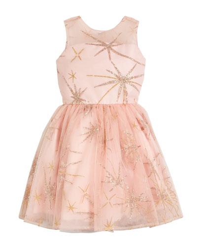 Sunrise Glitter Star Tulle Party Dress, Size 2-6X