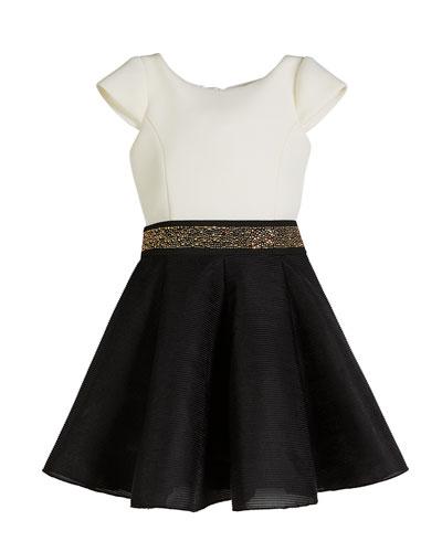 Caitlin Colorblock 8-Panel Swing Dress w/ Jeweled Belt, Size 4-6X