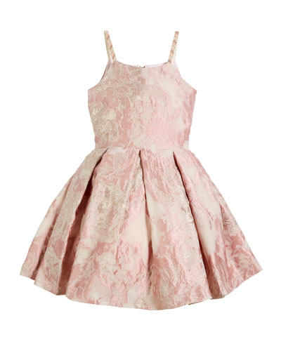 Vintage Metallic Burnout Brocade Dress w/ Jeweled Straps, Size 7-16