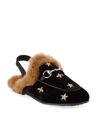 c927c2ded62e Princetown Velvet Bee-Embroidered Mule Slides Toddler Kids Quick Look. Gucci