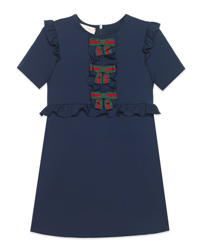 Jersey Stretch Ruffle-Trim Dress w/ Web Bows, Size 4-12