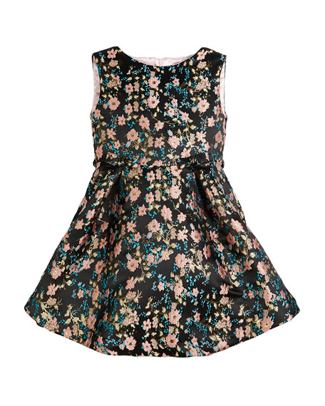 Floral Jacquard Sleeveless Dress, Size 2-6