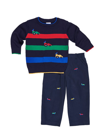 Image 1 of 1: Race Car Stripe Sweater w/ Embroidered Twill Pants, Size 2-5