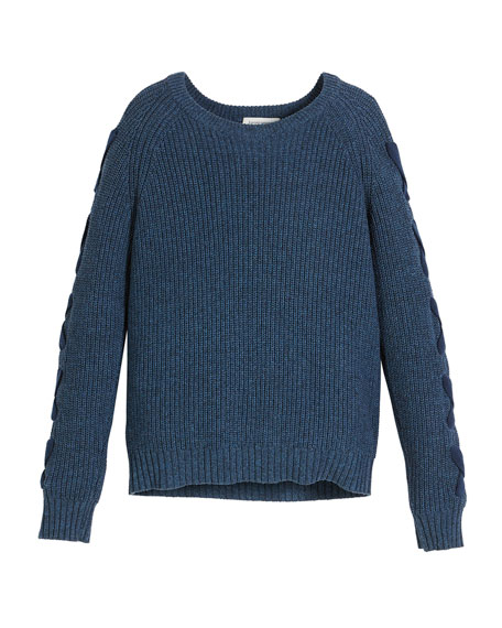 Ribbed Knit Pima Cotton Sweater w/ Lace-Up Sleeves, Size 8-16