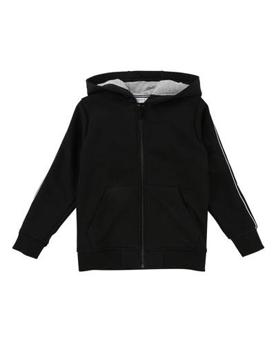 Zip-Up Hooded Jacket w/ Logo Sleeves, Size 4-5