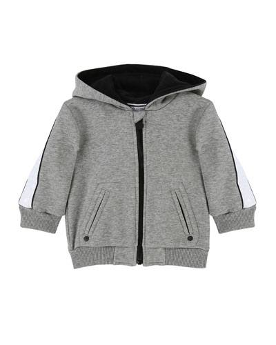 Zip-Up Hooded Jacket w/ Logo Sleeves, Size 2-3