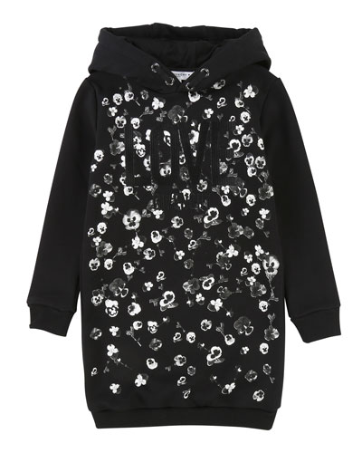 Love Givenchy Metallic Floral Hoodie Dress, Size 12-14