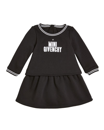 Long-Sleeve Mini Givenchy Logo Dress, Size 2-3