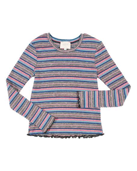 HANNAH BANANA Striped Ruffle-Hem Top, Size 4-6X in Multi