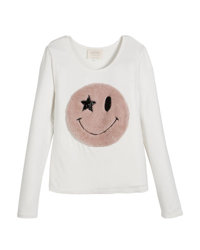 Long-Sleeve Top w/ Faux Fur Smiley Face, Size 4-6X