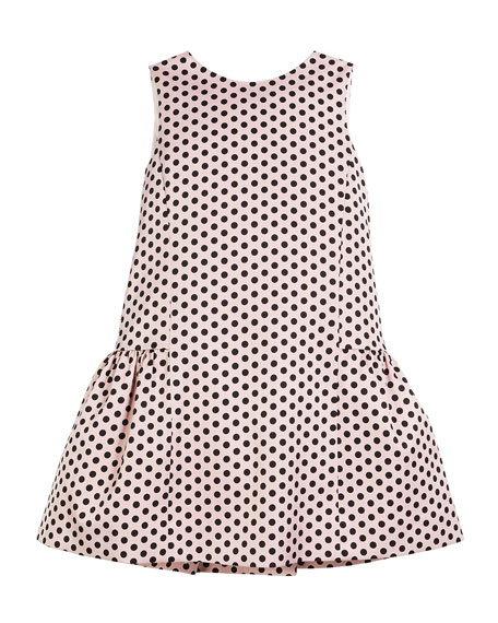 Camellia Polka-Dot Ruffle Party Dress, Size 4-7