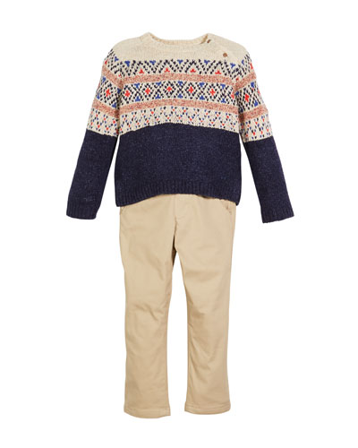 Fair Isle Knit Sweater w/ Twill Pants  Size 12-36 Months