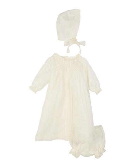 Pili Carrera Long-Sleeve Silk Organdy Christening Gown w/