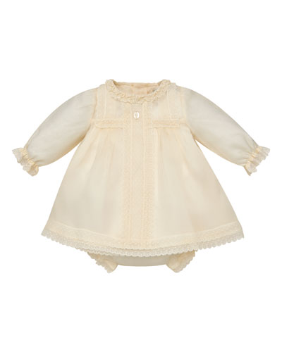 Long-Sleeve Silk Organdy Christening Dress w/ Bloomers, Size 6M-2