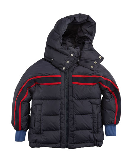Moncler Richard Striped-Trim Quilted Jacket, Size 4-6