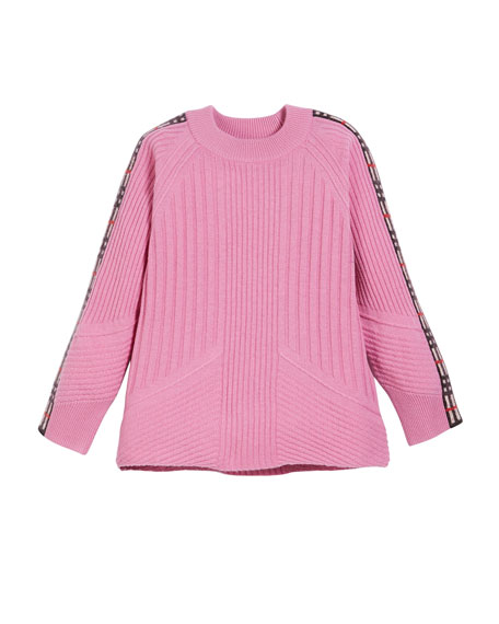 Burberry Cathie Knit Sweater w/ Check Down Sleeves,