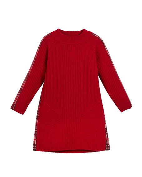 30121d8333f Burberry Cathina Check-Trim Knit Sweater Dress