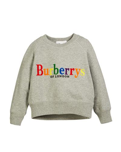 Elin Rainbow Logo Embroidery Sweatshirt, Size 4-14