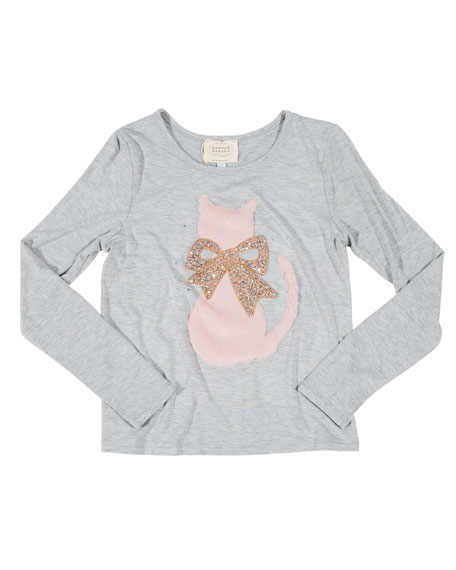 Faux Fur Cat Tee w/ Crystal Bow, Size 7-14