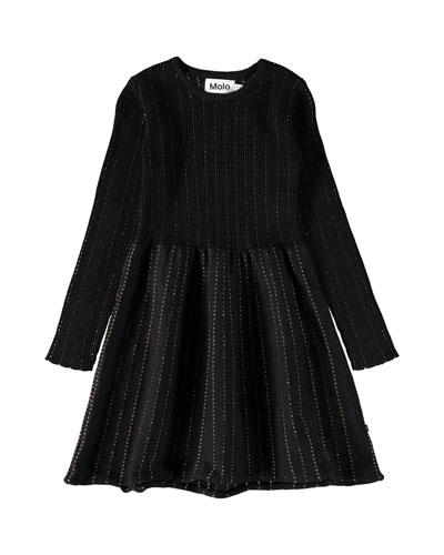 Cameron Long-Sleeve Rib-Knit Lurex Dress, Size 3T-12