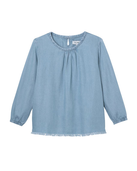 Long-Sleeve Raw-Edge Top, Size S-L