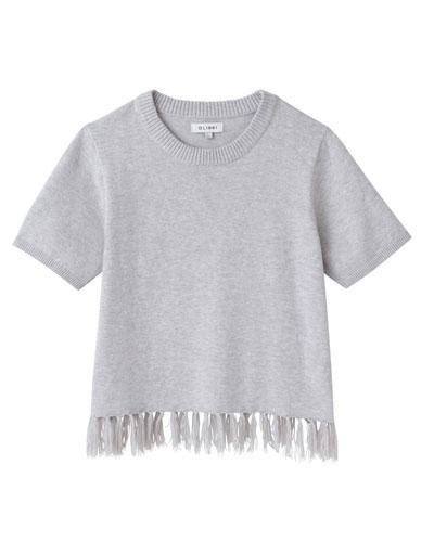 Short-Sleeve Tassel-Hem Sweater, Size S-L