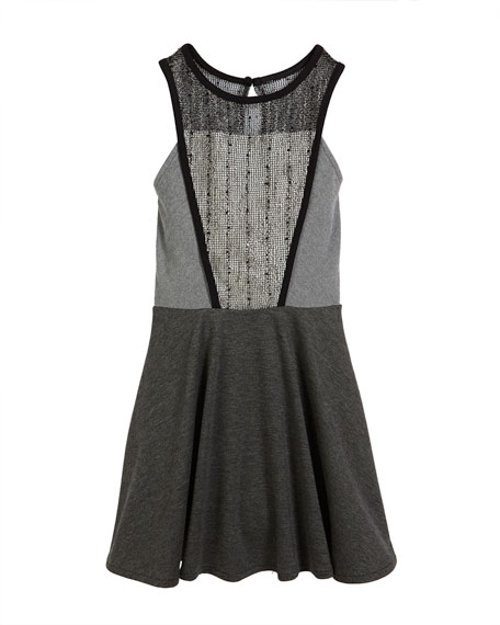 Catee Mesh-Panel Dress, Size S-XL