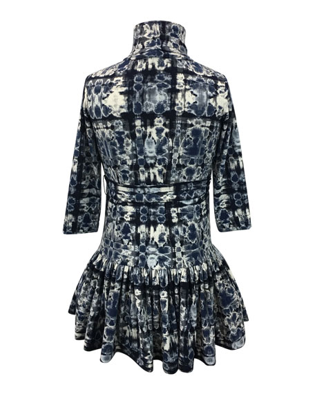 Knit Turtleneck Dress w/ Pleated Drop Waist, Size 4-6