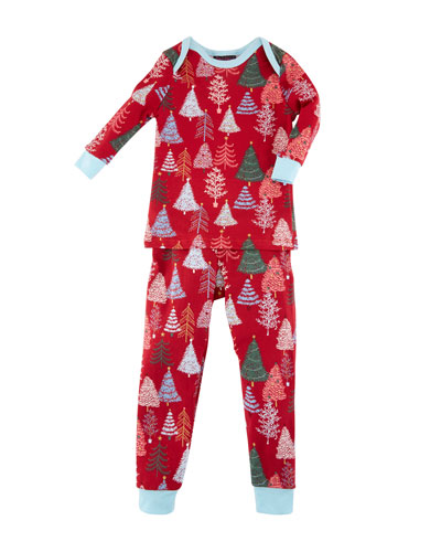 Christmas Tree-Print Pajamas w/ Matching Hat  Size 3-24 Months