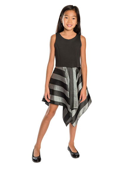 Presley Knit Dress w/ Metallic Stripe Skirt, Size 4-6X