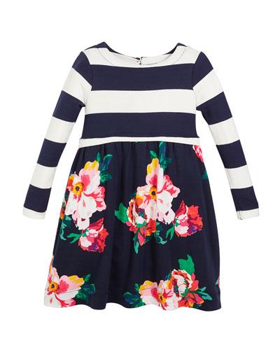 Stripe & Floral Long-Sleeve Dress, Size 2-6