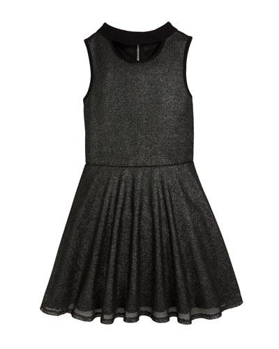 Francesca Sleeveless Mesh Dress w/ Cutout Detail, Size 8-16